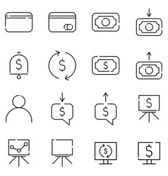 financial operations outline icons set currency vector image