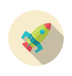 flat icon of rocket with long shadow style - vector image