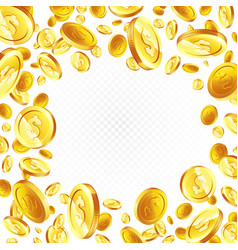 flying gold coins isolated vector image
