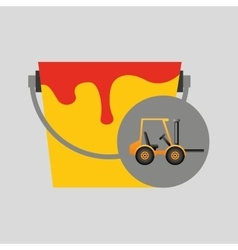 Forklift truck construction and paint icon graphic vector