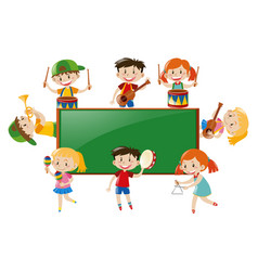 frame design with children playing music vector image
