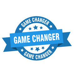 game changer ribbon game changer round blue sign vector image