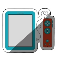Gamepad and tablet of videogame design vector