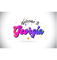 Georgia welcome to word text with purple pink vector