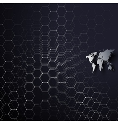 Gray world map connecting lines and dots on blue vector image
