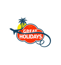 great holidays travel trips logo symbol vector image
