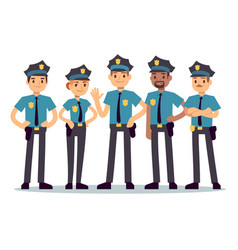 Group police officers woman and man cops vector