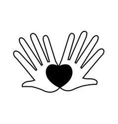 hands love heart romantic concept pictogram vector image