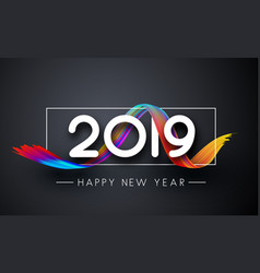 Happy new year 2019 greeting card with gradient vector