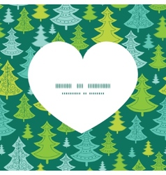 holiday christmas trees heart silhouette pattern vector image