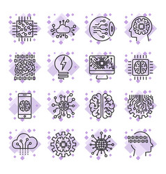 Icon set for artificial intelligence ai concept vector