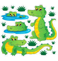 Image with crocodile theme 3 vector