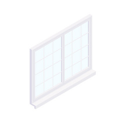 isometric facade square window frame vector image