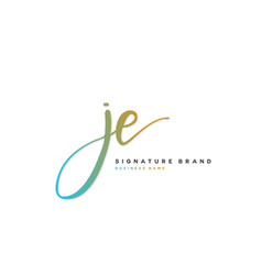 J e je initial letter handwriting and signature vector