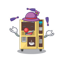 Juggling coffee vending machine in cartoon vector