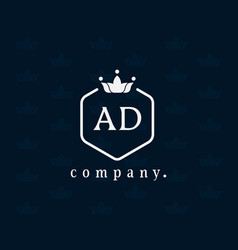 Letter ad a and d luxury royal style crown logo vector