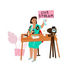 live streaming cartoon woman recording video vector image