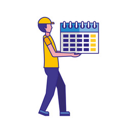 Man holding calendar reminder planning vector