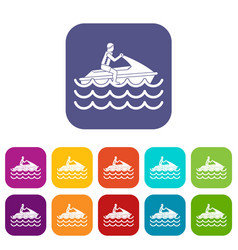 Man on jet ski rides icons set vector