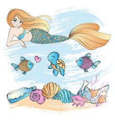 marine life mermaid underwater cartoon vector image