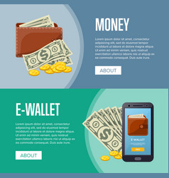 Money income and online wallet flyers vector