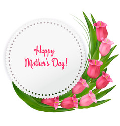 Mother day background with red flowers and ribbon vector