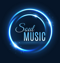 Neon light circle music poster design vector