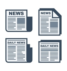 Newspaper Icons Set on White Background vector image