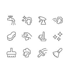 Outline Cleaning Icons vector image