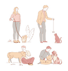 people with pets owners and dogs or cat walking on vector image