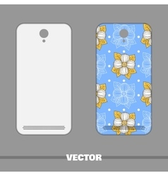 Phone Cover Big Flowers On Blue vector