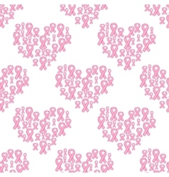 Pink ribbon and heart seamless pattern vector