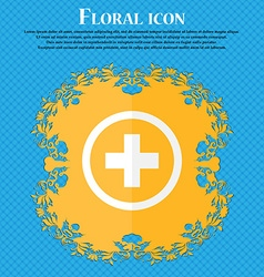 Plus sign icon positive symbol zoom in floral flat vector