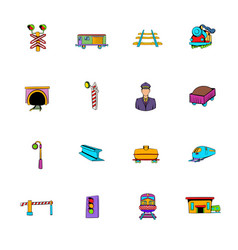 railroad icons set cartoon vector image