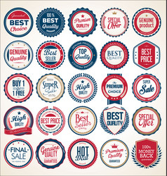 Retro vintage blue and red badges and labels 01621 vector