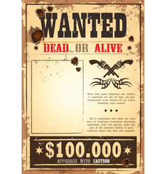 Retro wanted paper for wild west bounty vector