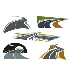 Road freeway and highway icons set vector