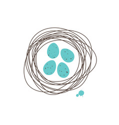 Robin nest with turquoise spoted eggs vector