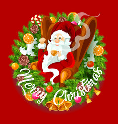 santa claus in christmas wreath spruce branches vector image