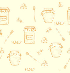 seamless honey background with a jar of honey vector image
