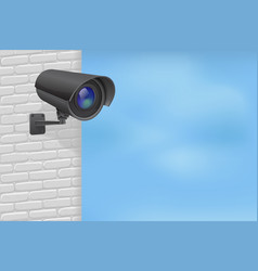 Security camera on brick wall with blue sky vector