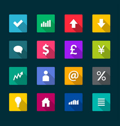 set business flat icons vector image