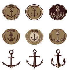 set emblems with anchor design elements vector image