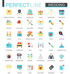 Set of flat wedding icons vector