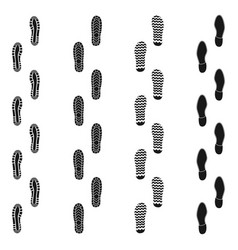 set of human footprints way black icon isolated vector image
