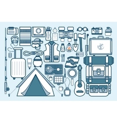 Set of sports equipment for outdoor activities on vector