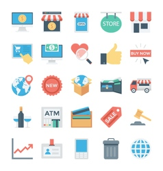 Shopping and E Commerce Colored Icons 5 vector image