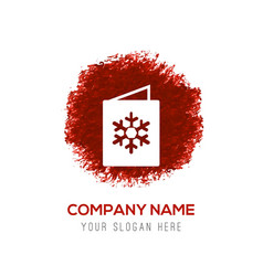 Snowflake flat icon - red watercolor circle splash vector