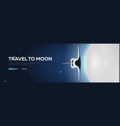 space travel to moon shuttle astronomical galaxy vector image