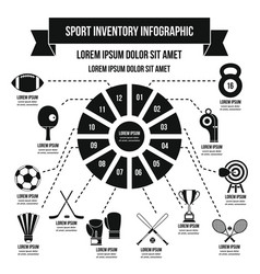 Sport inventory infographic concept simple style vector